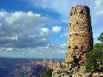 The Watchtower, by Mary Colter, 1932, at Desert View on the South Rim of the Grand Canyon in Arizona.