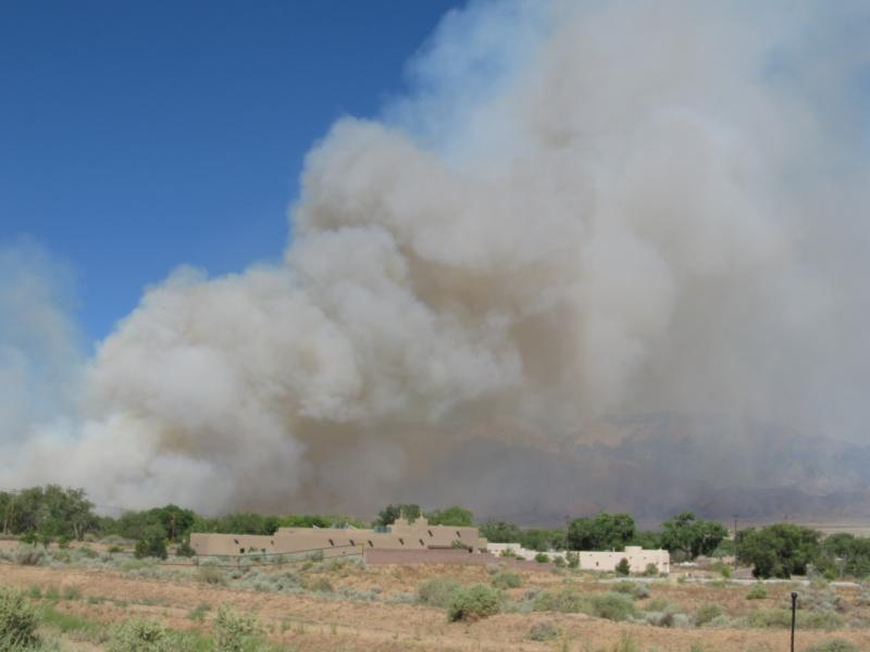 Seen from Corrales, the Romero Fire began at about 3:30 Wednesday afternoon on the west side of the Rio Grande.