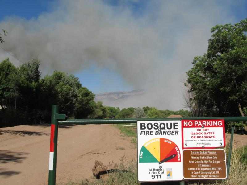 Bosque fire burning north of Albuquerque.