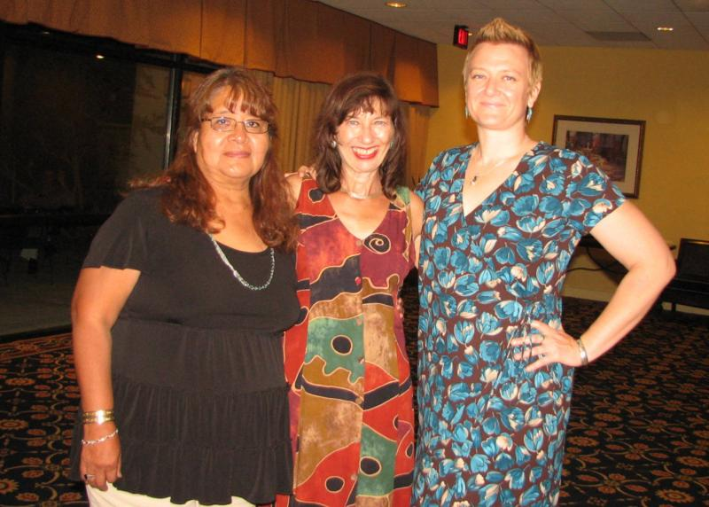 Navajo interpreter Patsy Chacon, Reporter Colleen Keane, and Host/Reporter Elaine Baumgartel from the KUNM Newsroom.