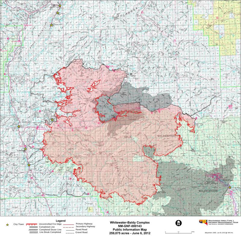 Whitewater Baldy Complex fire map, June 6, 2012.