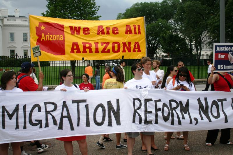 Protesters denounce Arizona's immigration law in June, 2010.
