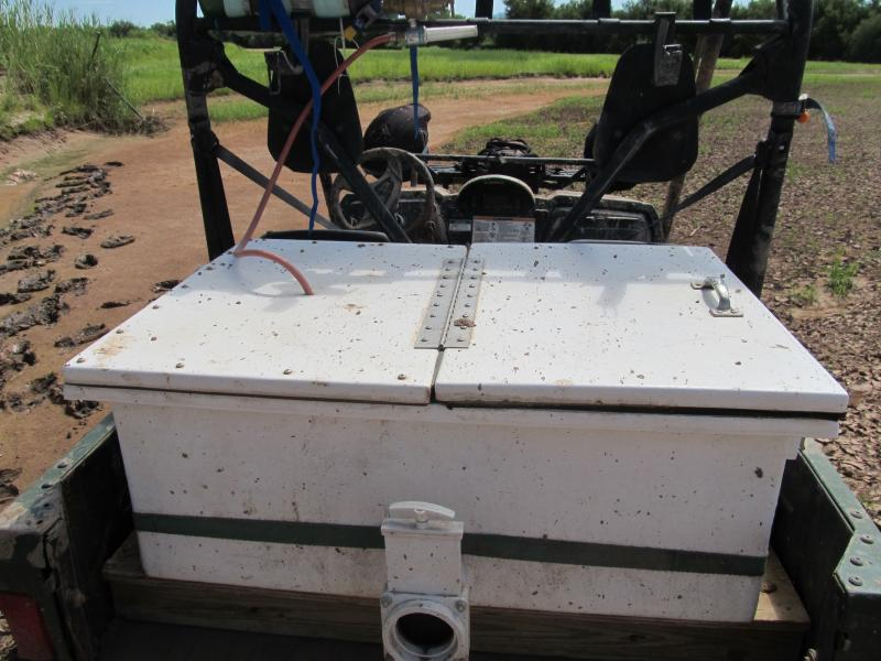 The crews use 50-gallon fiberglass tanks to hold the salvaged minnows.