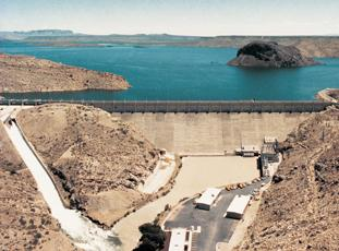 The US Bureau of Reclamation's Elephant Butte reservoir helps supply water to farmers along the lower Rio Grande.