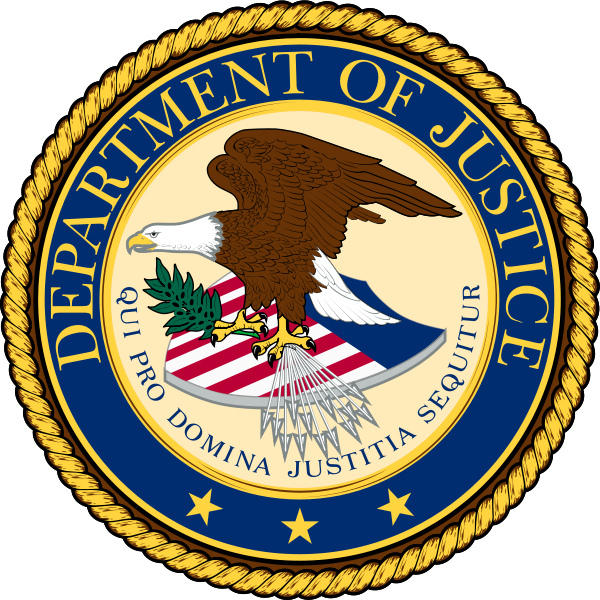 Seal of the US Department of Justic.