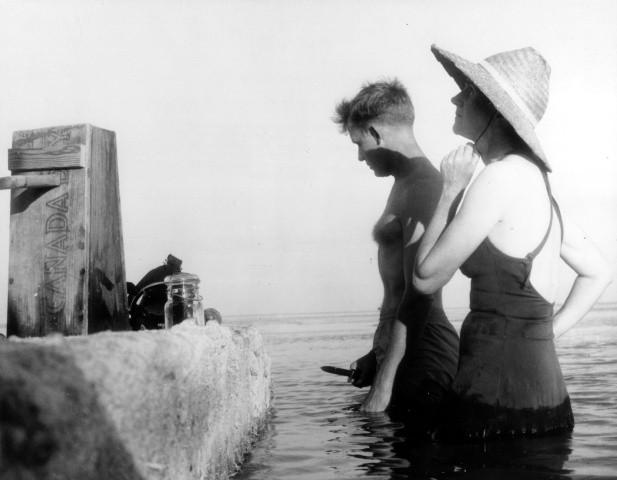Wildlife artist Robert Hines and writer Rachel Carson, Florida Keys, ca. 1955.