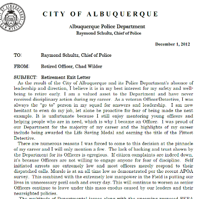 """Albuquerque Police Officer Posts """"Exit Letter"""" on Facebook ..."""