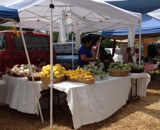 Vendors display fresh produce at the market