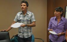 Jaen Ugalde and Leslie Alvarado lead a workshop for undocumented students.
