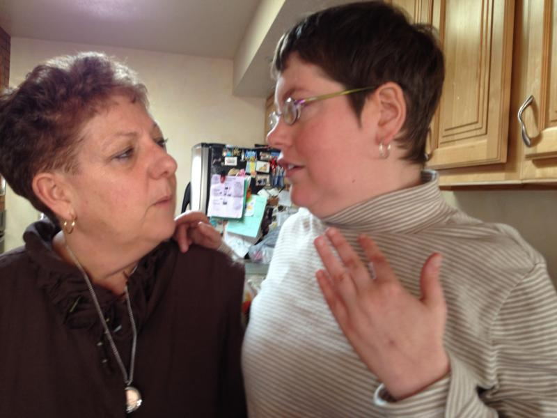 Jill Tatz and daughter Lesly review their day