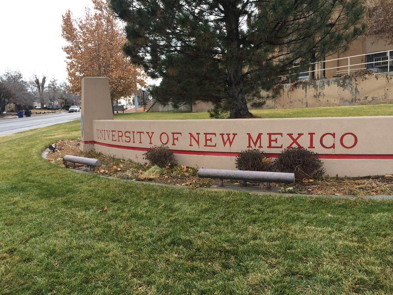 The sign in front of UNM's entrance on Central.