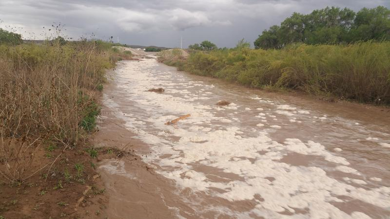 Stormwater flowing from the Tijeras Arroyo into the Rio Grande in early May