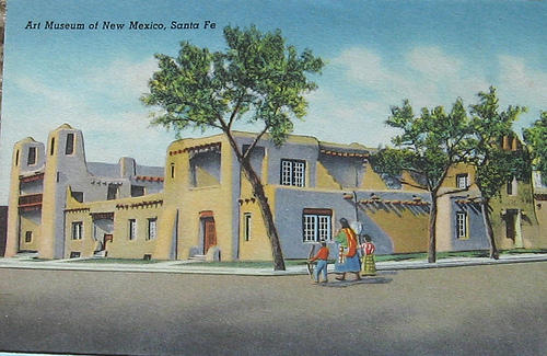 The 1917 Museum of New Mexico building (now the New Mexico Museum of Art), a prime example of the Pueblo Spanish Revival style of architecture.