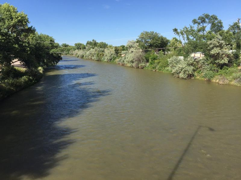 The Animas River near Farmington, N.M., still showed some discoloration on Monday, Aug. 10, 2015.