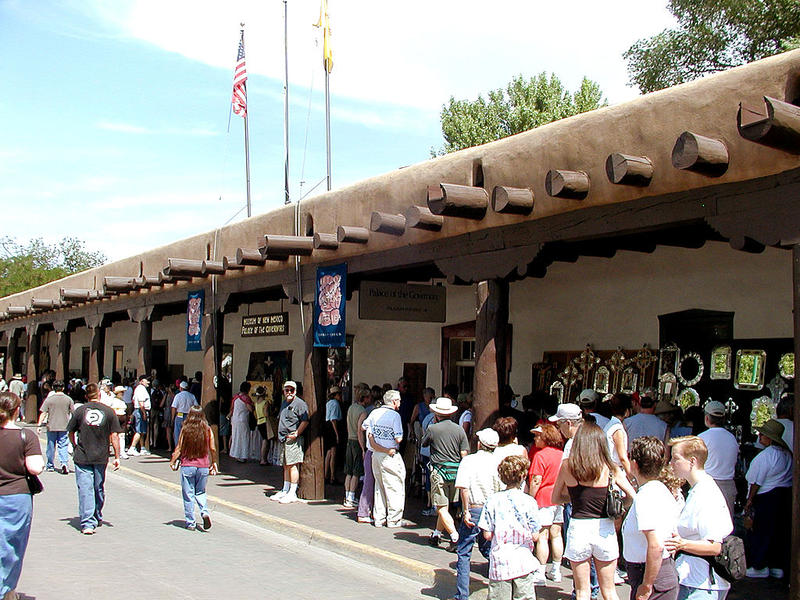 A market under the portal at the Palace of the Governors in Santa Fe, New Mexico.