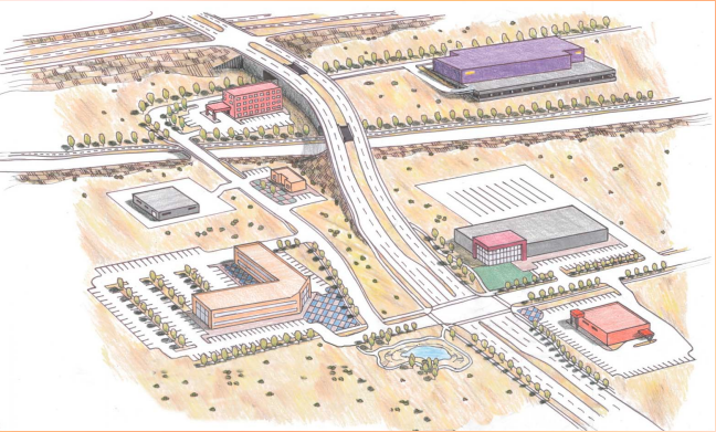Artist's rendering of the Sunport Blvd. extension
