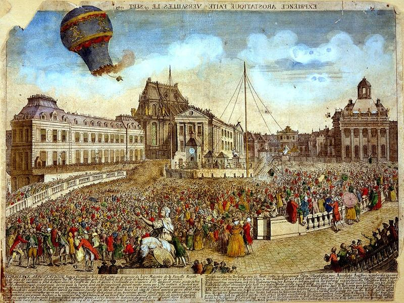"The launch of the Montgolfier Balloon over Paris, ""Expérience fait à Versailles le 19 Sept 1783."" Harry F. Guggenheim Collection. Image courtesy National Air and Space Museum, Smithsonian Institution."