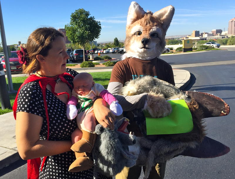 Wildlife advocates dressed as Little Red Riding Hood and The Big Bad Wolf rallied in support of the Mexican gray wolf during the state Game Commission meeting on Tuesday.