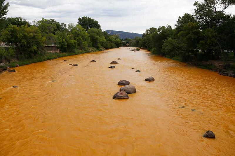 Animas River shortly after the Gold King Mine spill