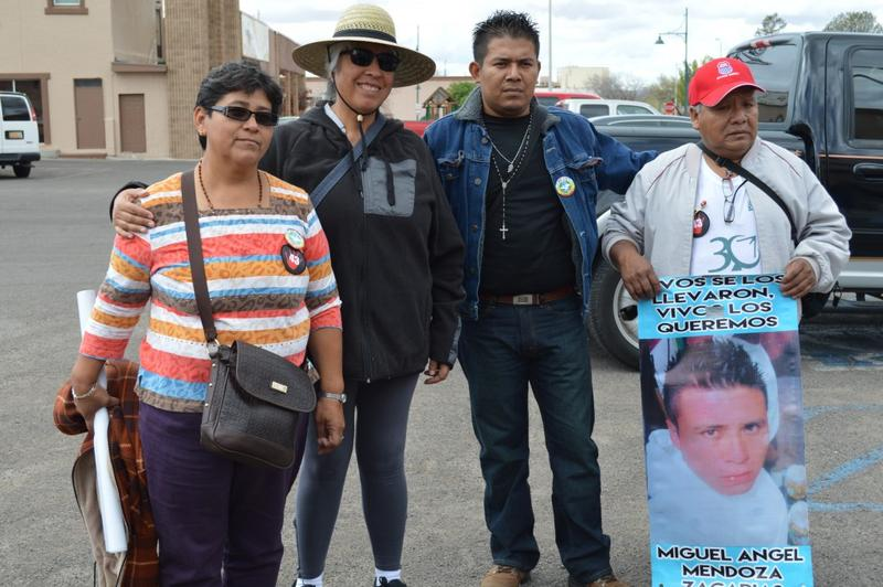 Blanca Luz Nava, Jhosimar de la Cruz and Estanislao Mendoza along with a supporter at a March 2015 demonstration in Las Cruces, New Mexico.