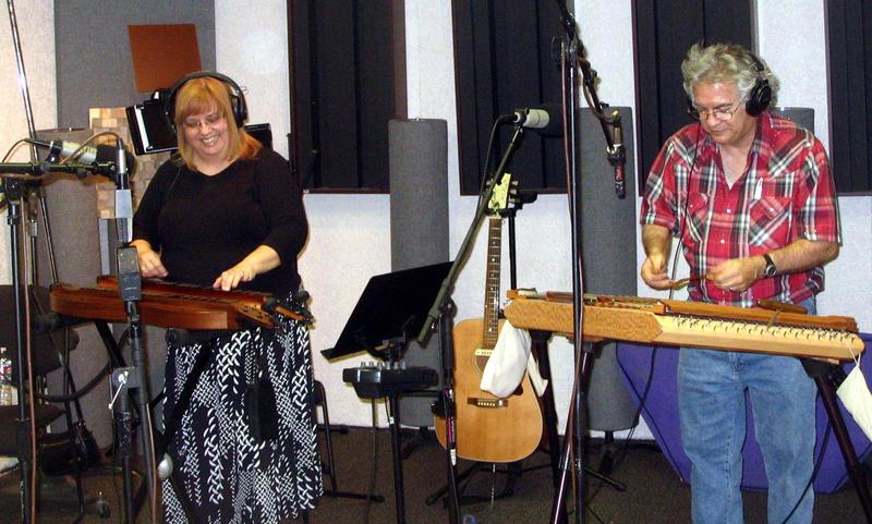 Irma Reeder on mountain dulcimers and Scott Reeder on hammered dulcimer in the KUNM studio