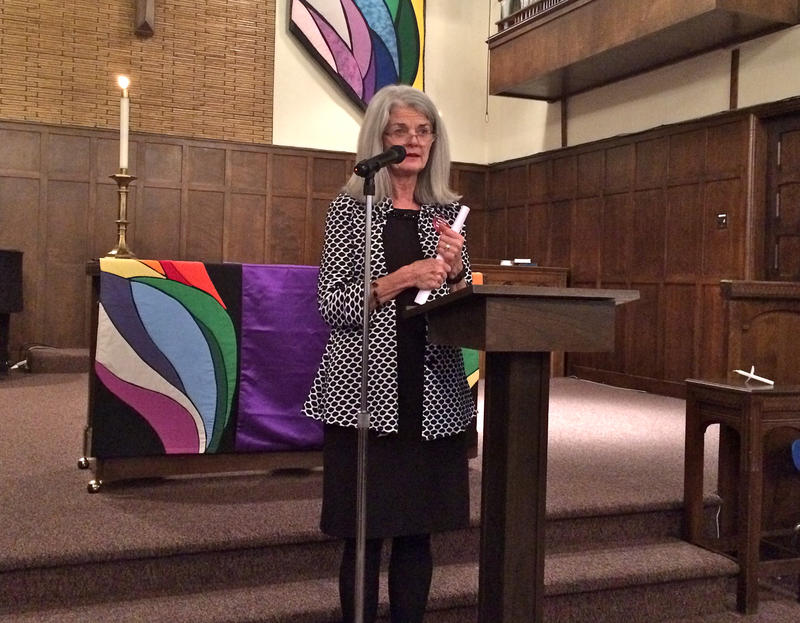 Vicki Cowart, president and CEO of Planned Parenthood of the Rocky Mountains, speaks at First Congregational Church.