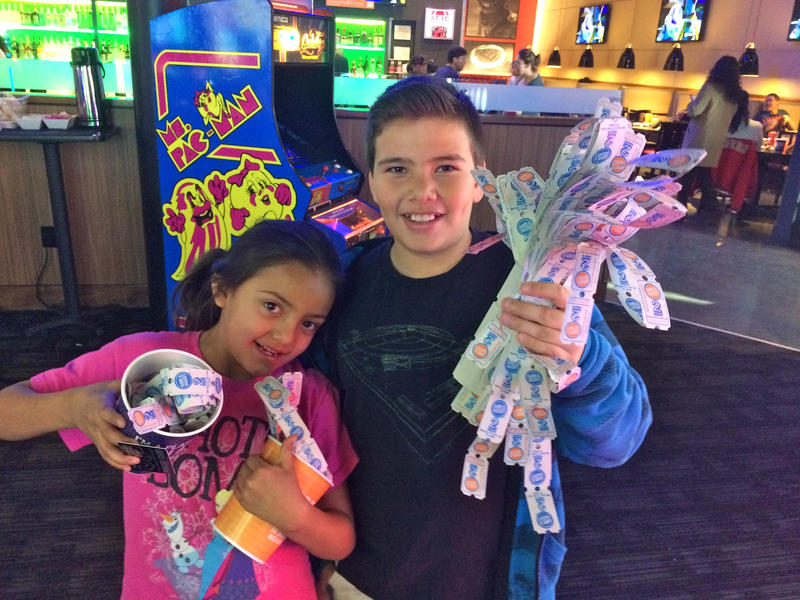 Adonijah and his sister Evelyn at Dave and Buster's