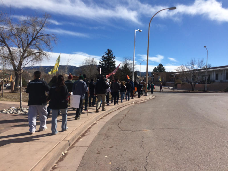 Demonstrators from Rio Arriba County make their way to the Roundhouse on Saturday, Jan. 30, 2016.