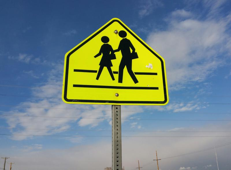 A crosswalk in front of Mountain View Elementary School