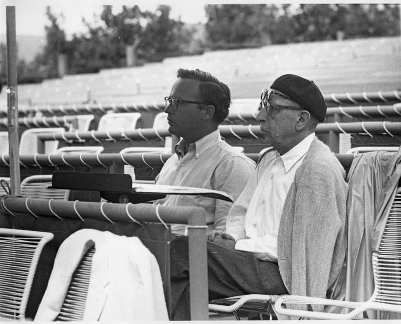 John Crosby and Igor Stravinsky watch a rehearsal in 1961 in the original theater at the Santa Fe Opera.