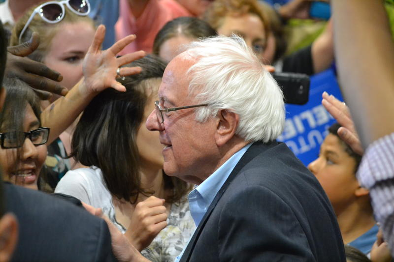 Bernie Sanders with supporters at his rally in Albuquerque.