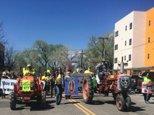 Albuquerque residents march to a Bernalillo County Commission Santolina Master Plan hearing.