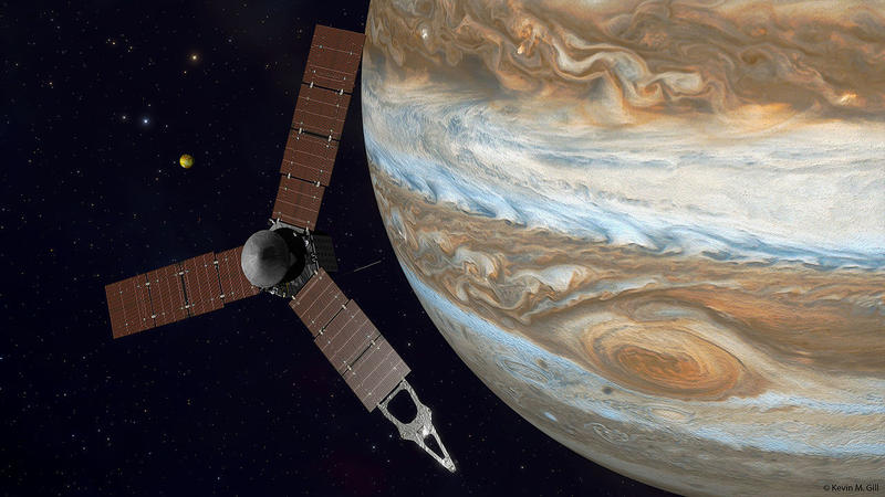 Juno spacecraft approaching Jupiter