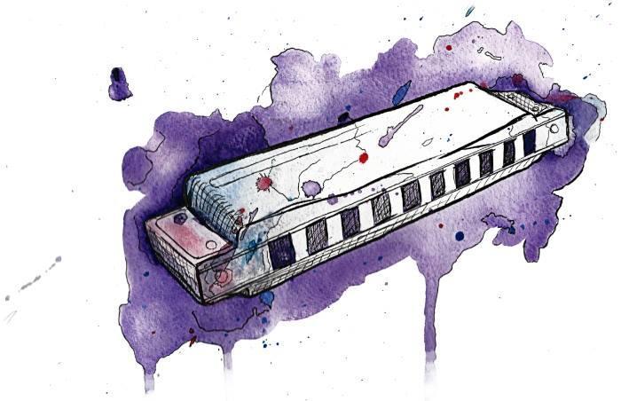 Art: Watercolor harmonica by Jonathan Meyer