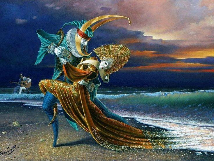 Sunset Tango - Painting by Michael Cheval