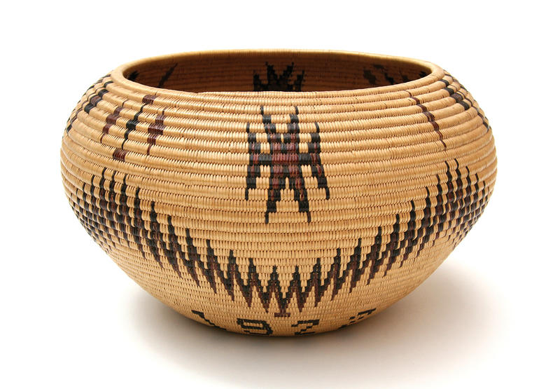 Maggie Mayo James, Washoe polychrome basket, 1922, most likely made in Yosemite Valley 6.25 in. high x 10 ¾ in. deep. Collection of Kim Martindale.