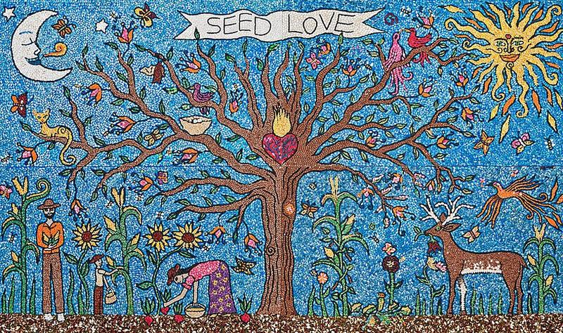 SEED LOVE MURAL  ​ Seeded by the community.  Designed by Jade Leyva with the assistance of Noel Chilton. 12' X 7'  Estimated Community Participation 700 people.