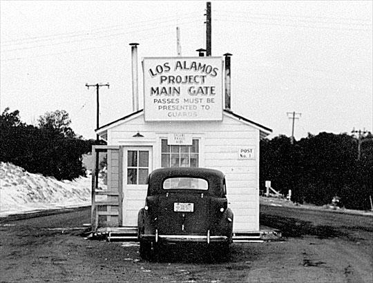 Entry gate to Los Alamos, 1943
