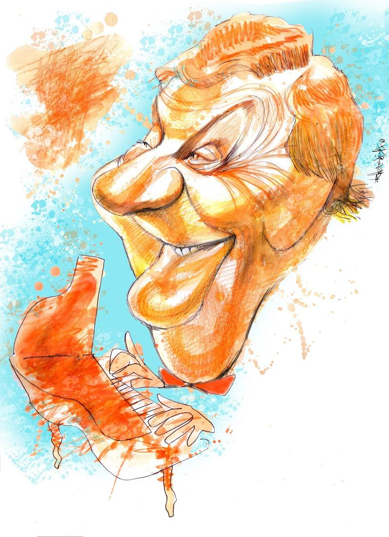 Art: Mariano Mores caricature by Ricardo Heredia (Bs. As., 2016)
