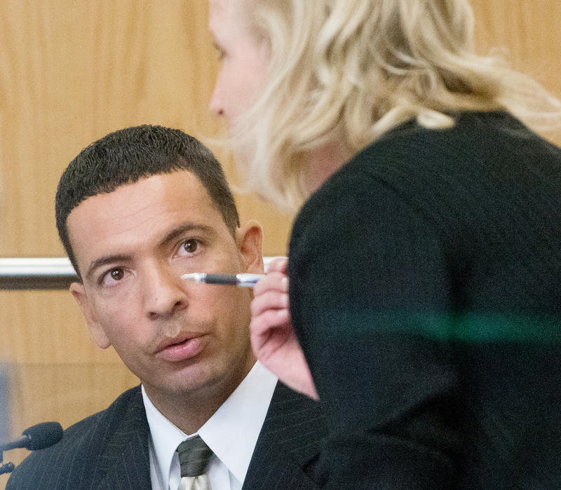 Albuquerque Police Sgt. Jason Carpenter answers questions from special prosecutor Randi McGinn on Thursday, Sept. 29.