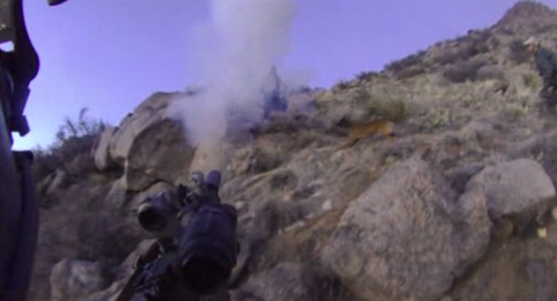 A screenshot from footage from Dominique Perez' helmet camera