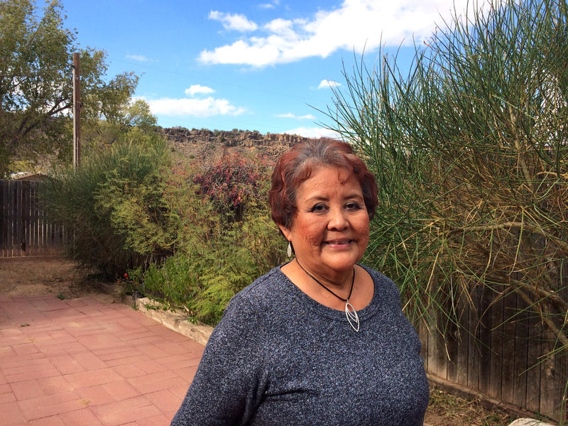 Sharon Chavez in her backyard near the Black Mesa.