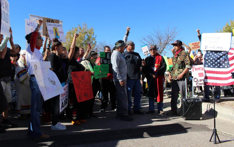 Demonstrators outside the Army Corps of Engineers building in Albuquerque