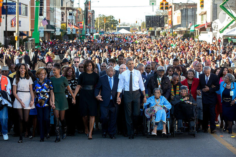 First Family joined others in beginning the walk across the Edmund Pettus Bridge in March, 2015