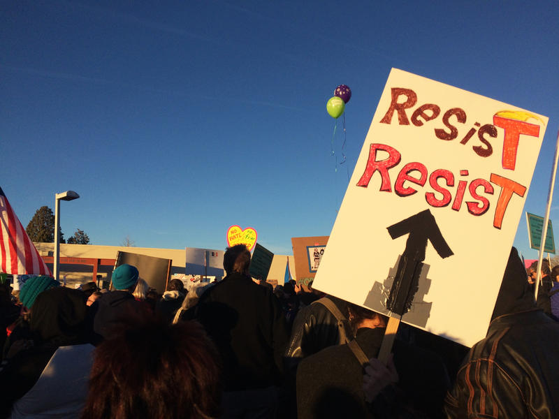 The march began in a parking lot about half a mile from Albuquerque's Sunport on Sunday, Jan. 29, 2017.