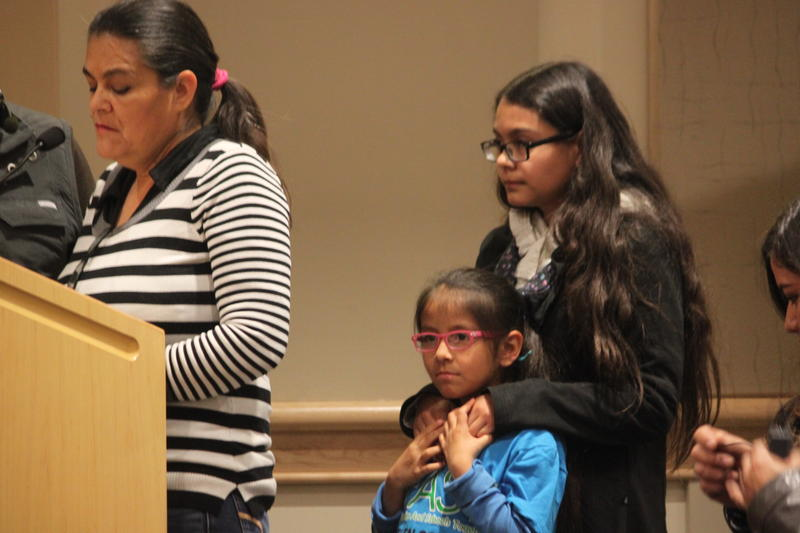 Mirna Lozcano, student and mother of Ashley and Mariel, speaks at the board meeting on January 18. The turnout was organized by El CENTRO de Igualdad y Derechos.