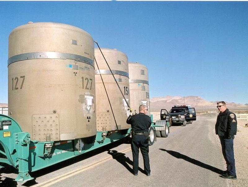 Transuranic waste casks destined for WIPP at a facility in Nevada in 2004. It's not clear when shipments from sites across the U.S. will resume. The waste stored underground this week had been stored above ground at WIPP.