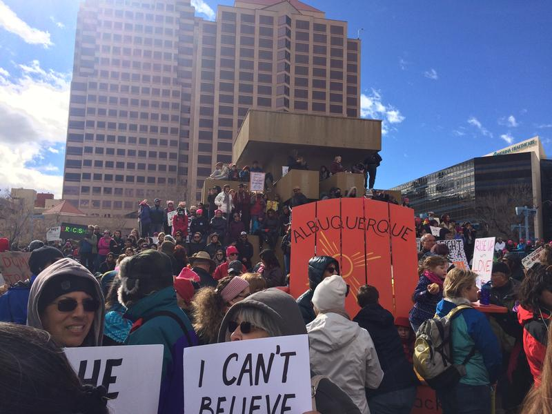 Demonstrators in Albuquerque's Civic Plaza