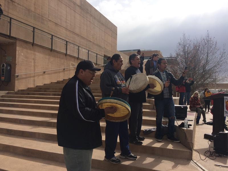 Drummers played towards the end of the event while demonstrators danced.