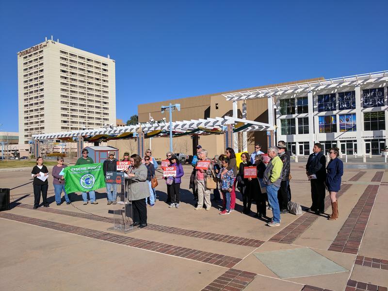 Protesters at Civic Plaza in Albuquerque